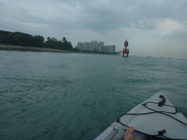 Sentosa Cove in the distance on the left hand side.
