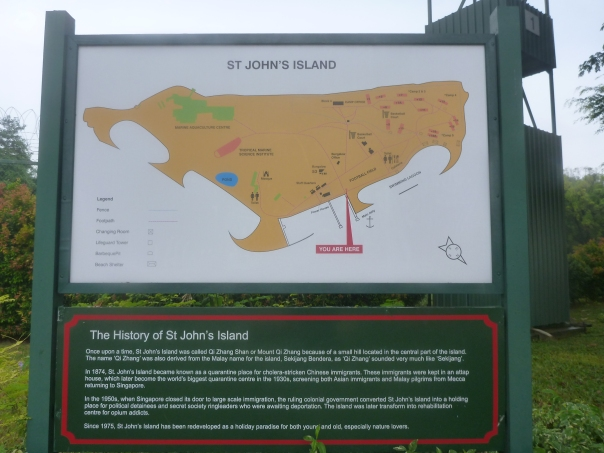 The signboard for St John's Island.