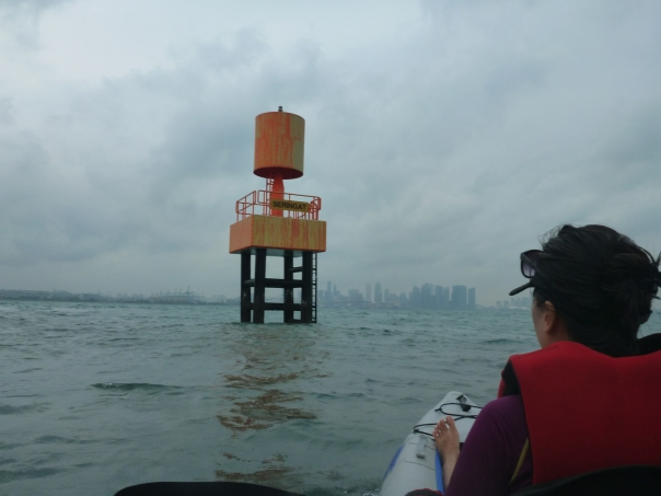 Paddling home - Marina Bay sands in the distance.