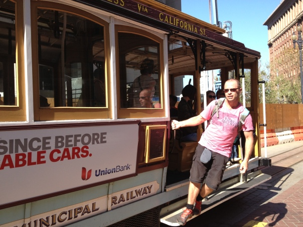 Riding the tram - its cool to hang off the edge as the cars rip past your feet.