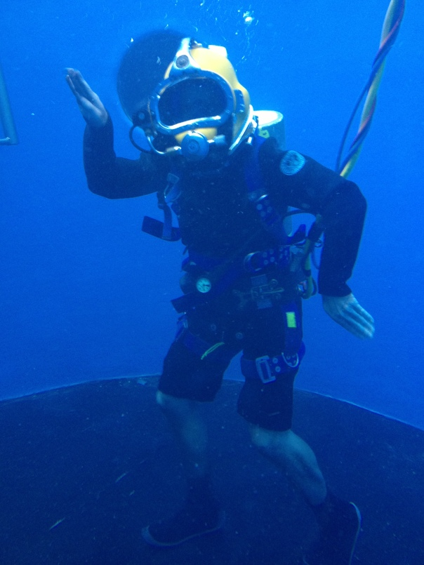 Me blowing bubbles in the tank at the Marine Diving Technology facility.