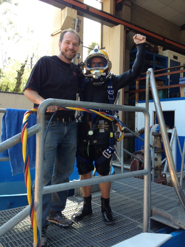 All suited up in commercial diver gear with the super cool Dan Vasey at the Marine Diving Technology facility.
