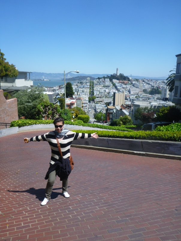 Stephanie on top of the famous Lombard Street - said to be the second most crooked street in the world (behind Wall Street - get it?)
