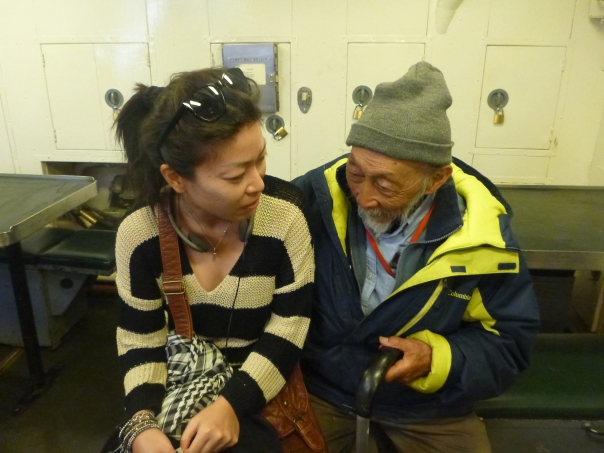 Stephanie being chatted up by Mark - a sailor who served on the USS Pampanito during WWII, now he is over 90 years old.