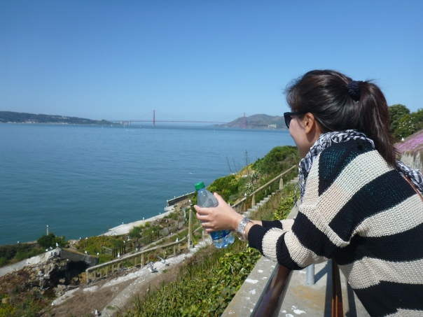 The view from Alcatraz overlooking the Golden Gate.