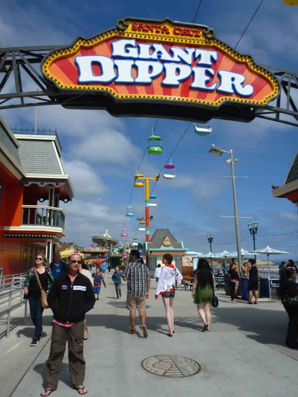 IN Santa Cruz - it seemed like a good idea to ride the Giant Dipper roller coaster just after a bowl of clam chowder.