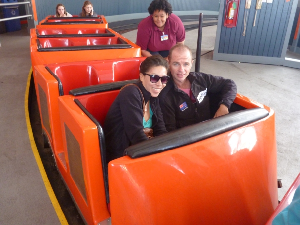 In the Giant Dipper - with a cheeky monkey behind us. It may be the 4th oldest roller coaster in the USA and made of wood but it still scared the shit out of me.