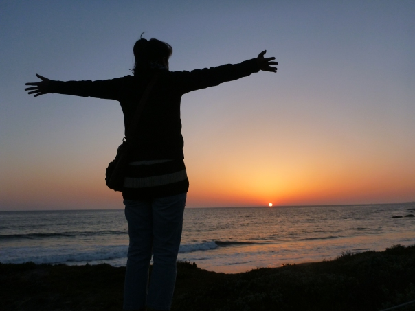 Stephanie enjoying a sunset in Cambria.