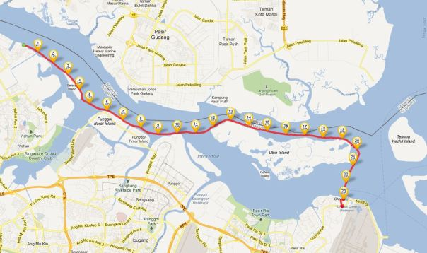 Map of the route from Sembawang beach to Changi beach.