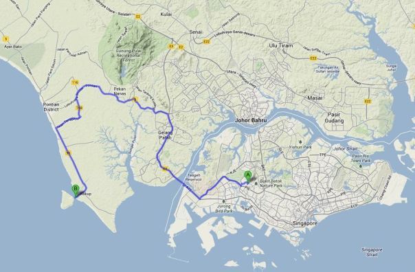 The driving route to Kukup  from Singapore