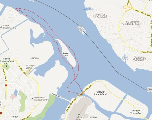 The 12km loop around Seletar Island starting and stopping at Sembawang beach.