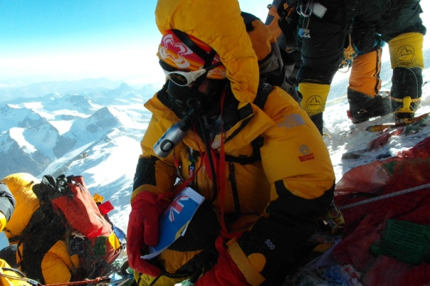Margaret Watroba victorious on the summit of Everest for the second time after climbing the North Ridge/North Col route.