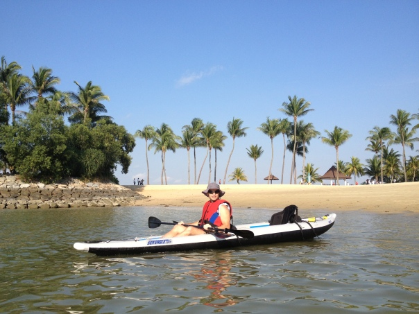 All set-up in the Divorce Machine and ready to go from Tanjung Beach, a glorious morning for a paddle.