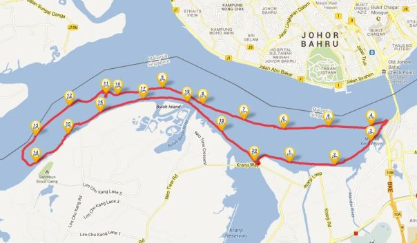 Map of our 20.25km route