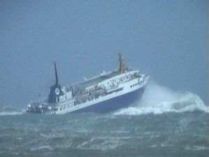 A ferry does battle in the Cook Strait on rough day.  Photo: Straithipping.co.nz