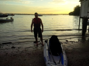 Bevan arrives at Pulau Ubin as the sunsets.