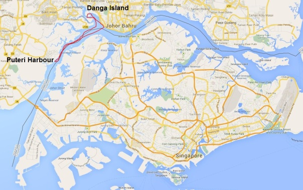 Our 27km route marked in red, starting and finishing from Puteri Harbour.