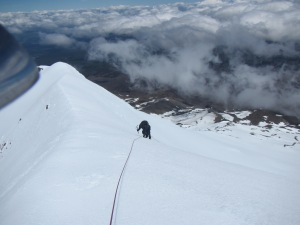 Mountaineer Robert Mills descending from the summit.