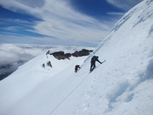 Descending the very hard icy traverse to access the crater rim