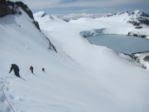 Descending the crater wall
