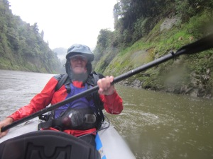 On the mighty Whanganui River, in the rain!