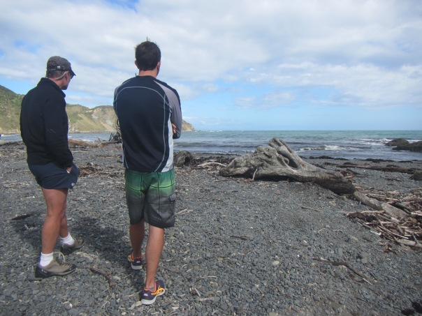 Tim Taylor from NZ Kayaker and Alan Silva at Makara beach this morning - scoping the route out across the Cook Strait.  27km to safety on the other side!