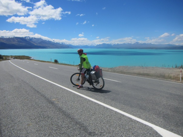 Coming down into beautiful Pake Pukaki. On a clear day Aoraki/Mt Cook is clearly visible at the end of this lake.