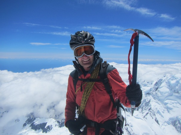 Alan Silva approaching the summit of Aoraki/Mt Cook. His seventh time on the summit and my second.