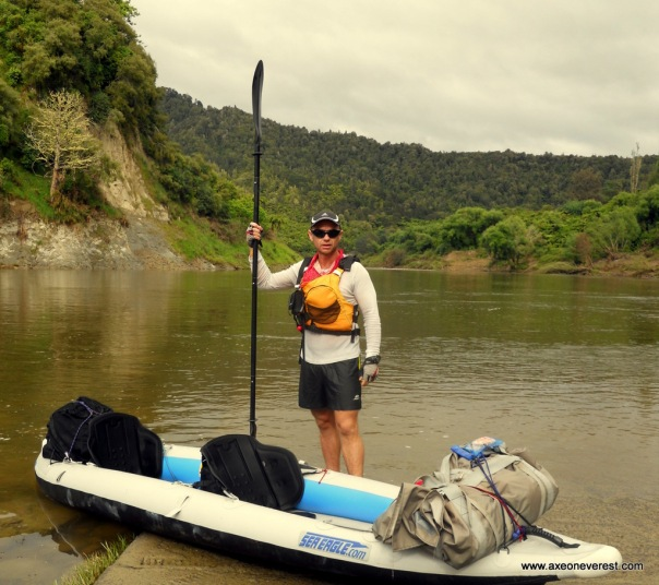 Grant Rawlinson starting the paddle in the 'Divorce Machine' inflatable kayak down the Whanganui River.