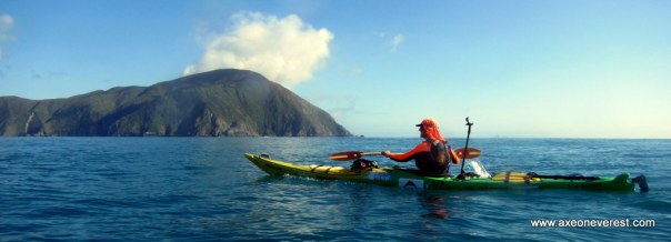 Tim Taylor approaching Arapawa Island after paddling the Cook Strait.