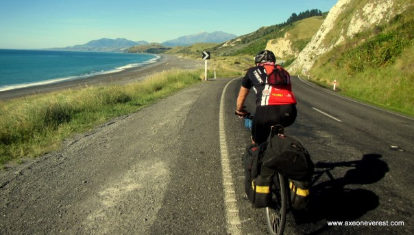 Alan Silva cycles along the Kaikoura coastline.