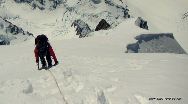 Alan Silva climbs the summit ride on Aoraki/Mt Cook.