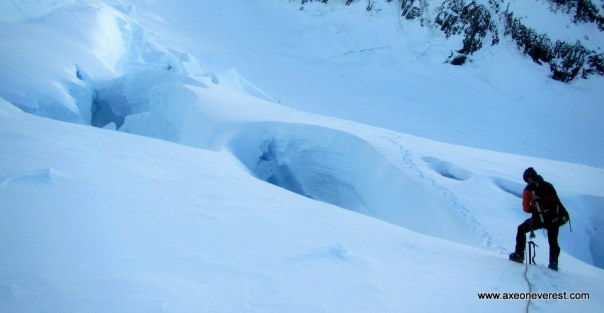 Alan Silva descending through the crevasses on the Linda Glacier.