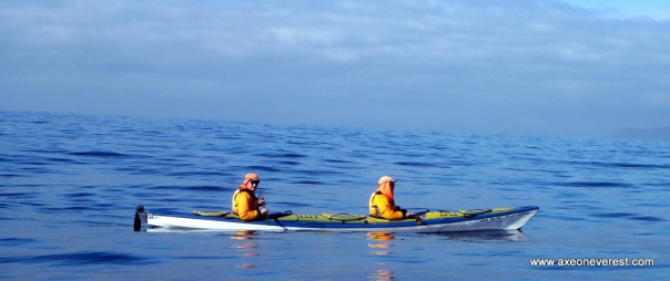 Alan Silva and Grant Rawlinson in the middle of the Cook Strait.