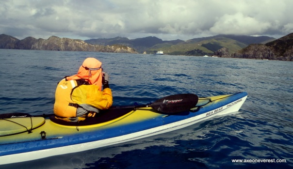 Grant Rawlinson takes a photo of the Tory Channel  entrance after paddling across the Cook Strait from Makara beach in Wellington.