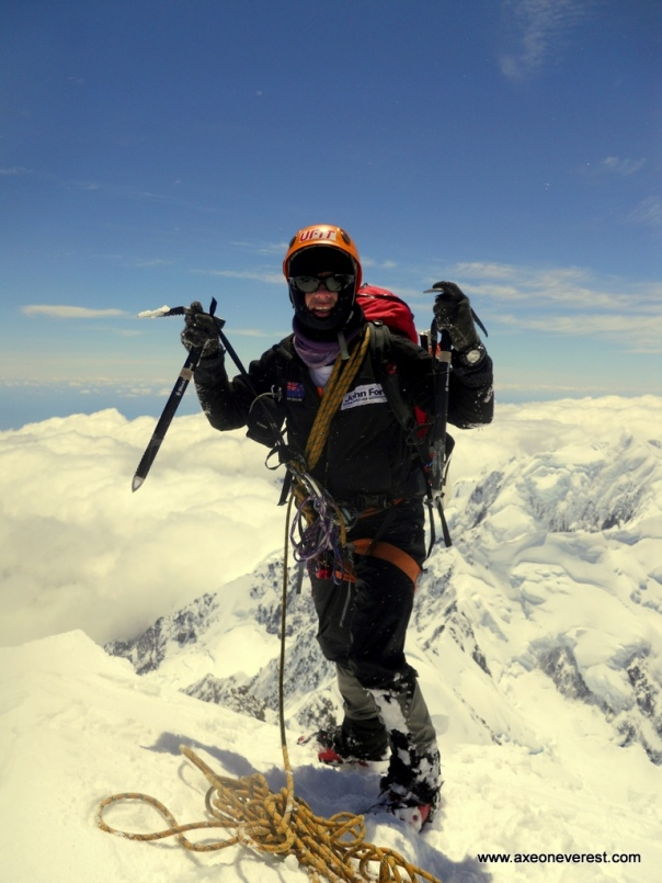 Grant Rawlinson on the summit of Aoraki/Mt Cook.