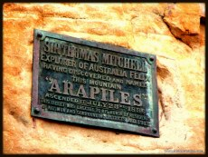 The plaque located on a small crag when you enter Mt Arapiles