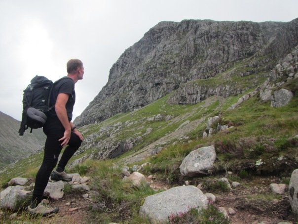 Alan Silva checking out Tower Ridge on Ben Nevis