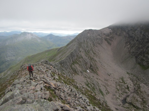 Alan Silva on the C M D arete heading up to the summit of Ben Nevis