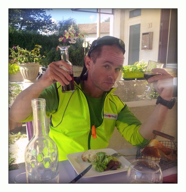 Its trials of cycling through France - red wine for lunch is non-optional!