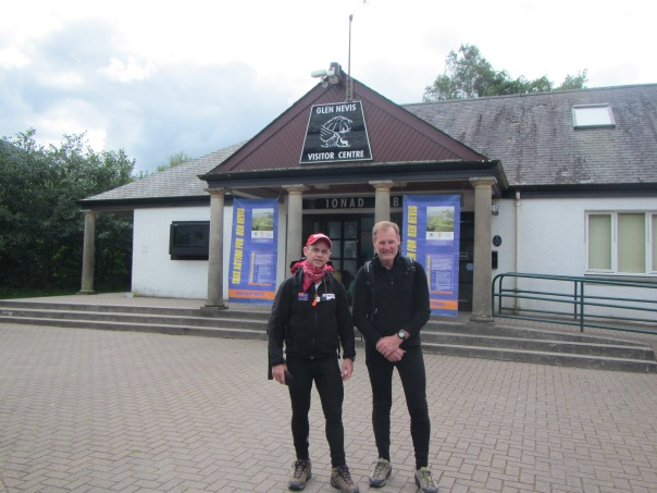 With Alan Silva at the tourist information centre at the base of Ben Nevis, fresh faced and full of beans as we are about to start the wander up Ben Nevis.