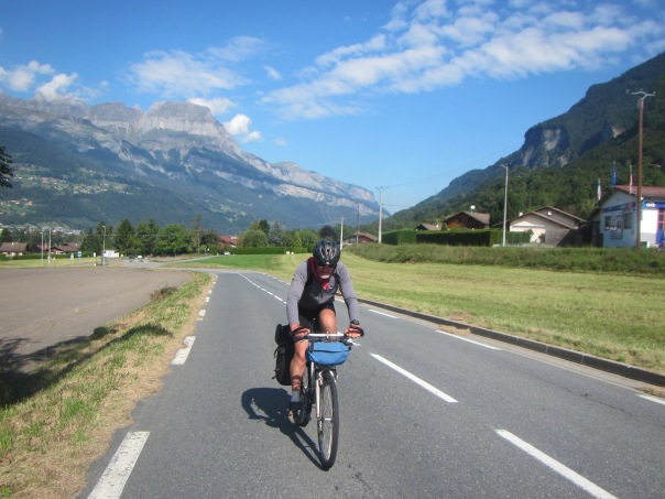Alan Silva cycling up through the Chamonix Valley on the final 90km ride.
