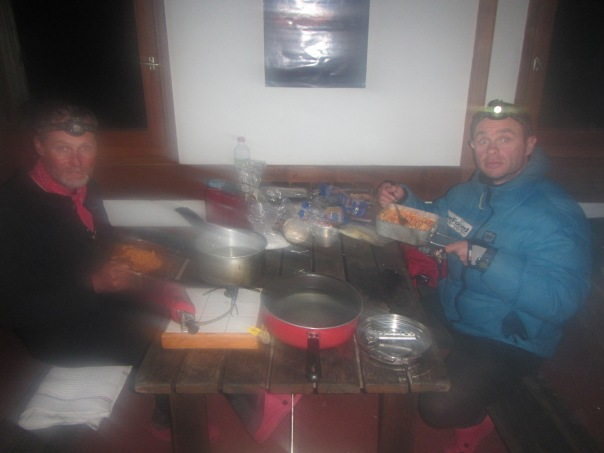 Wet but finally there! A delicious dinner of pasta in the hut