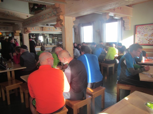 Feeling tired and claustrophobic in the noisy dining area of Refuge Cosmiques
