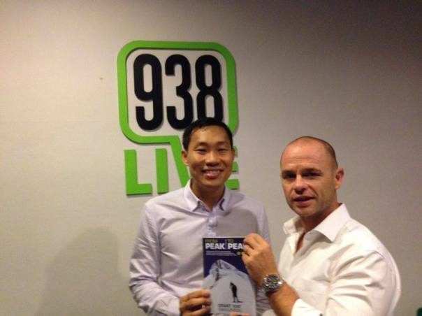 With my very patient and supportive publisher Mr Phoon Hwa after the radio interview for my new book 'From Peak to Peak'