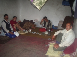David Lim my climbing partner makes new friends in the Shepherds hut on the side of Mt Damavand.