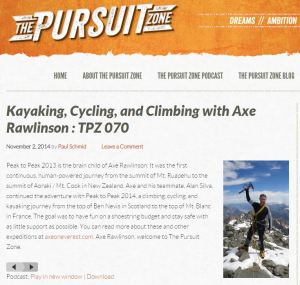 Click the image to hear a POCAST interview about our Peak to Peak adventure on THE PURSUIT ZONE.