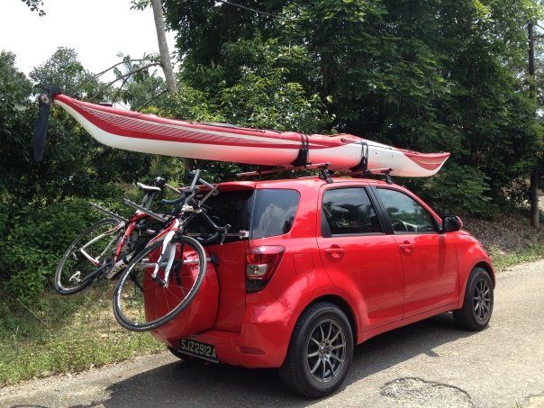 Glassy's car complete with kayak and bicycle on the way home from a family holiday he won't forget for some time.