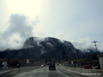 Driving out of Squamish with the full view of the 700m high 'Chief' in the distance