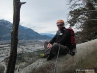 Sitting on top with Squamish town in the distance behind me.